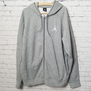 Mens Air Jordan full zip gray hoodie